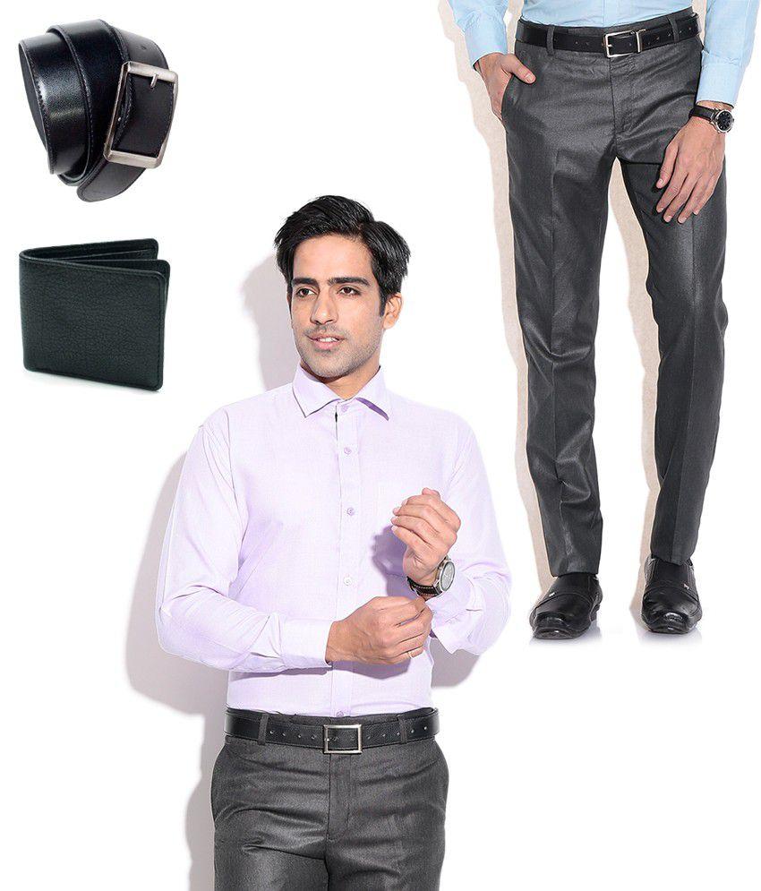 Fizzaro Combo of Black Formal Trouser, Purple Shirt, Belt & Wallet