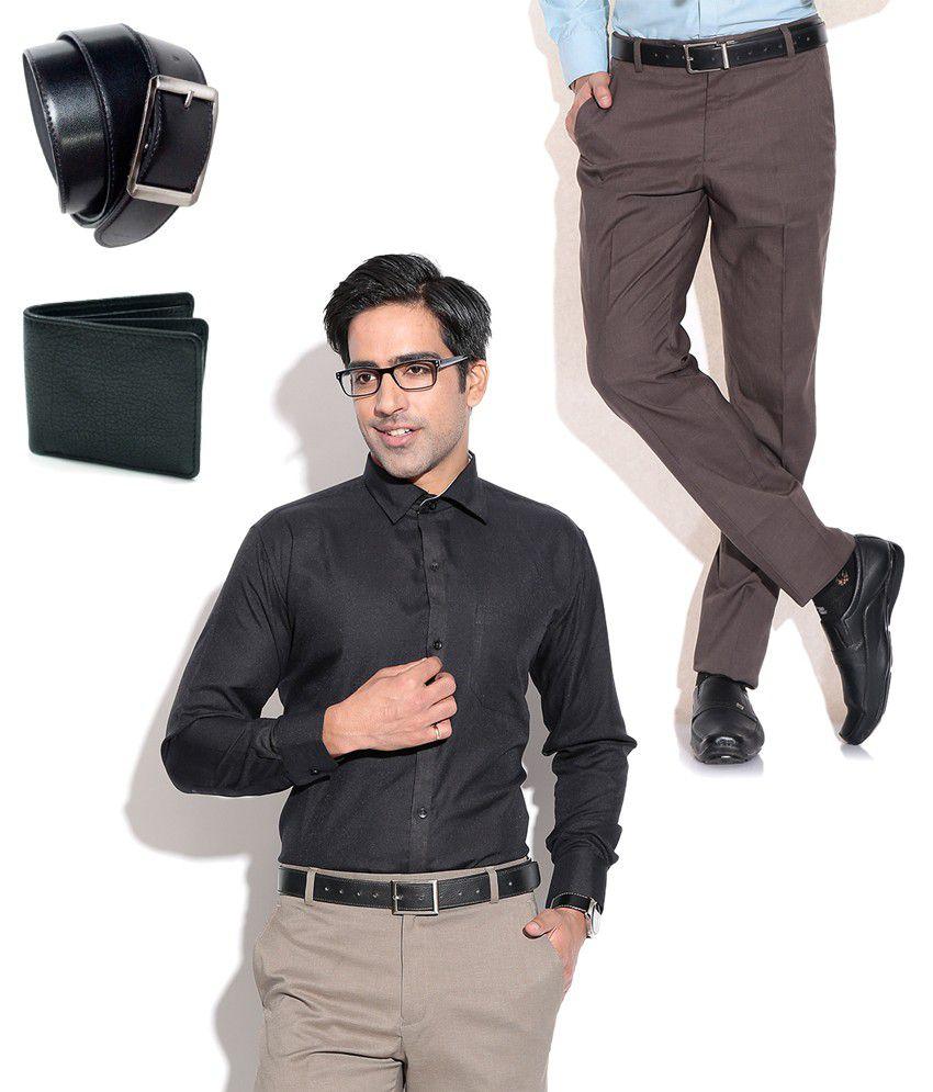 Fizzaro Combo of Brown Formal Trouser, Black Shirt, Belt & Wallet