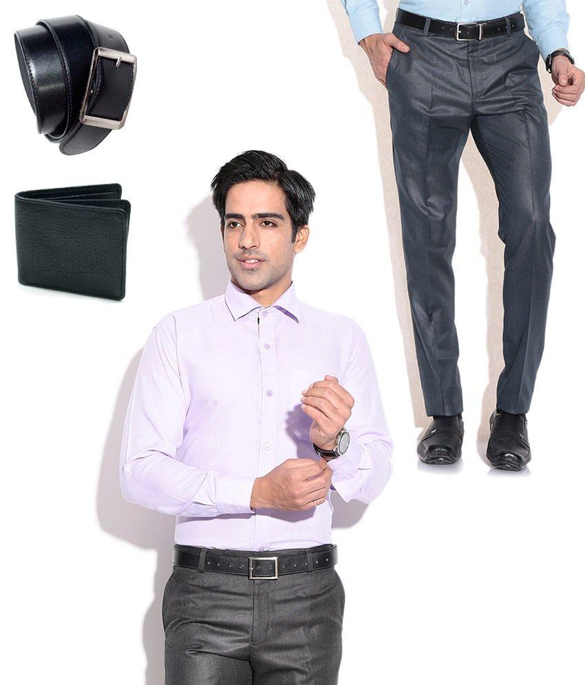 Fizzaro Fabulous Combo of Blue Formal Trouser, Shirt, Belt & Wallet