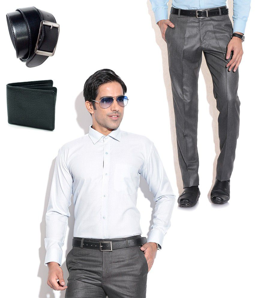 Fizzaro Trendy Combo of Formal Trouser, Shirt, Belt & Wallet