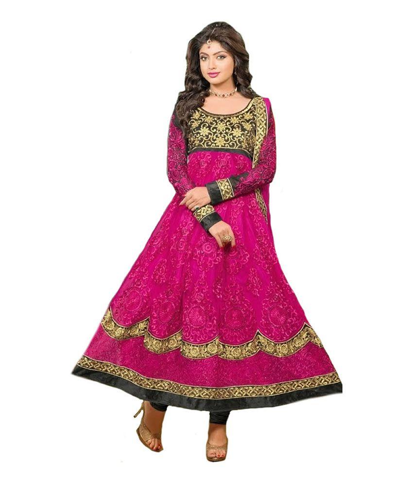 Kumudkala Pink Net Embroidered Anarkali Salwar Suit