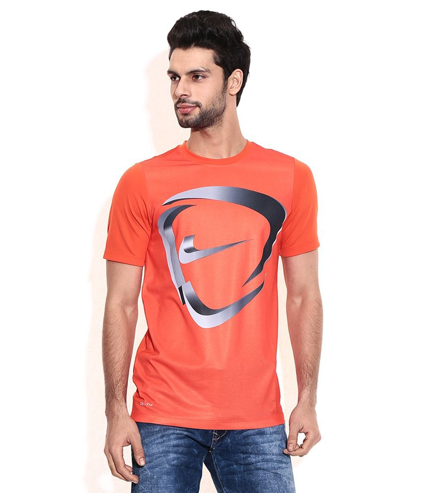 Nike Orange Cotton Blend T-shirt