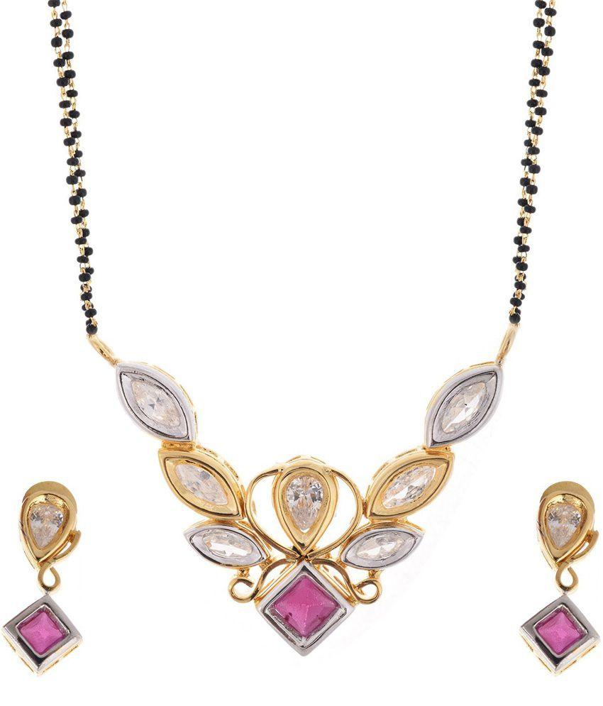 Beyou Ruby Red Diamond Kundan Style Mangalsutra Set With Chain