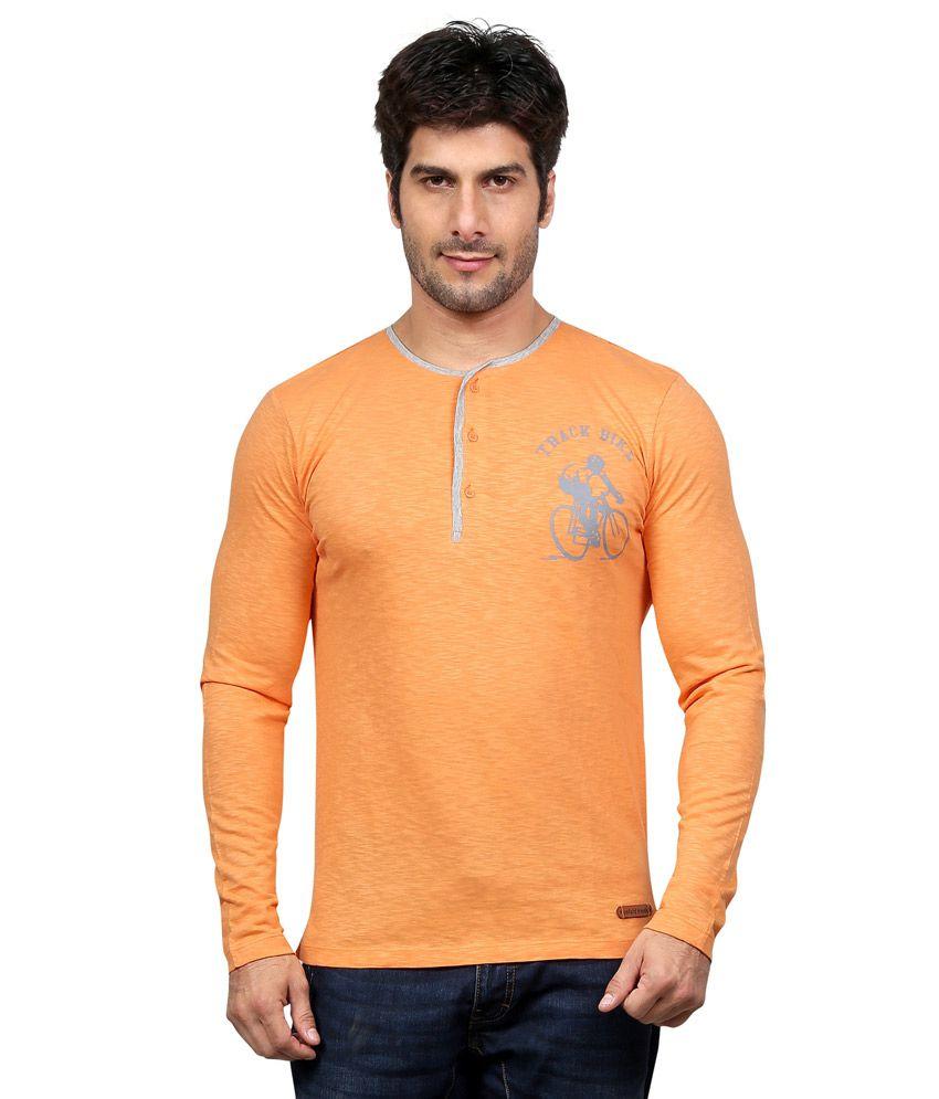 National Beige Cotton Round Neck Mens T Shirt
