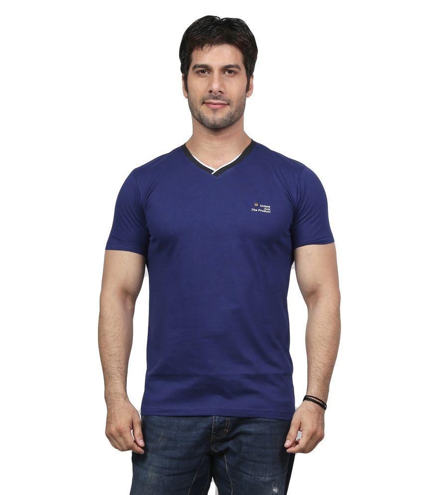 National Purple Cotton V-neck Mens T Shirt
