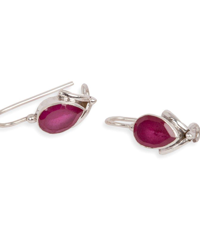 Silverwala 925 Silver Ruby Stone Earrings