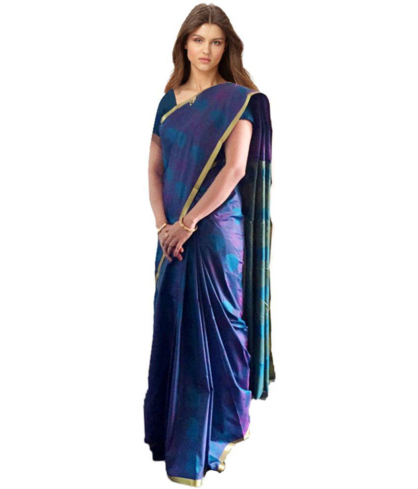 ffd5ffda06 Sri Kumaran Silks Blue Printed Pure Cotton Saree With Blouse Piece - Buy  Sri Kumaran Silks Blue Printed Pure Cotton Saree With Blouse Piece Online  at Low ...