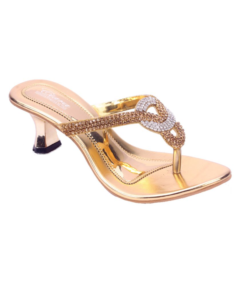 Titas Gold Heeled Slip-on