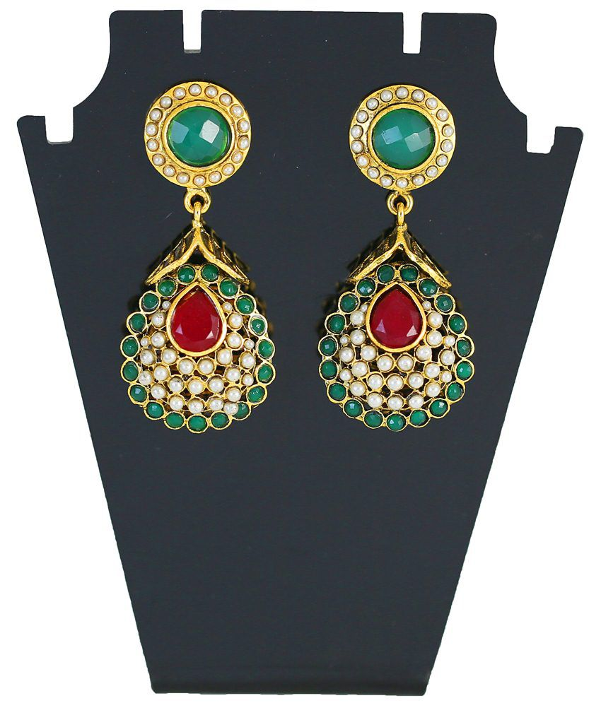 Touchstone Gold Toned Green Austrian Diamond Hanging Earrings