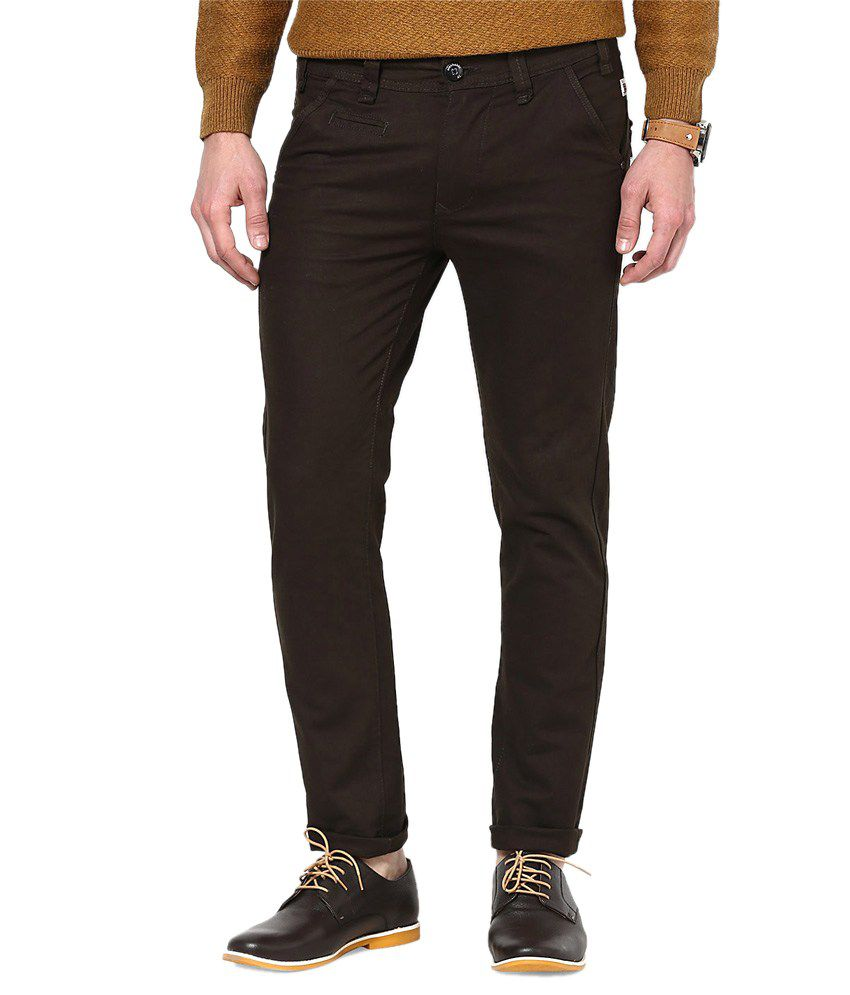 Code 61 Brown Cotton Lycra Slim Fit Stretchable Chinos