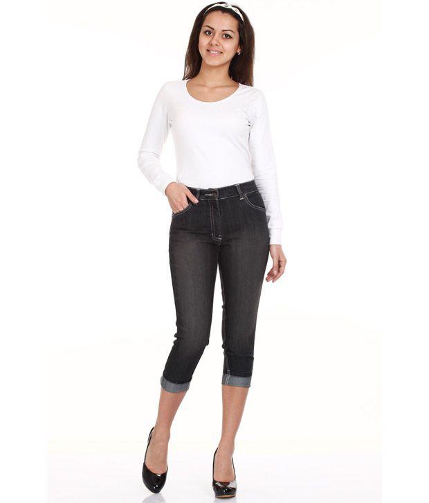 Mustard Black Denim 3/4 Jeans For Women