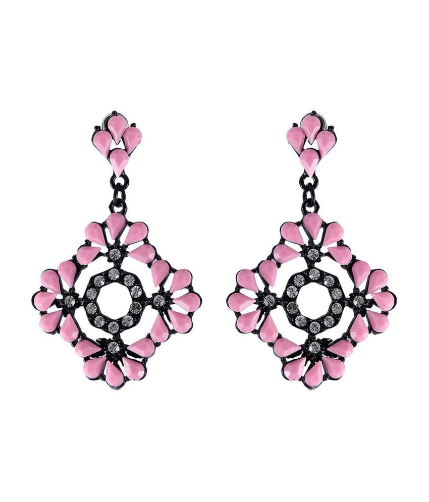 Vastradi Square Shaped Fancy Artificial Earrings With Pink & White Stones
