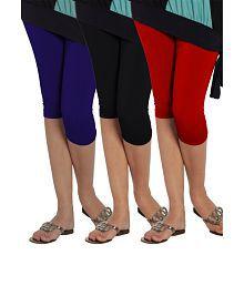 Lux Lyra Women Red,black & Royal Blue Capriset Of 3