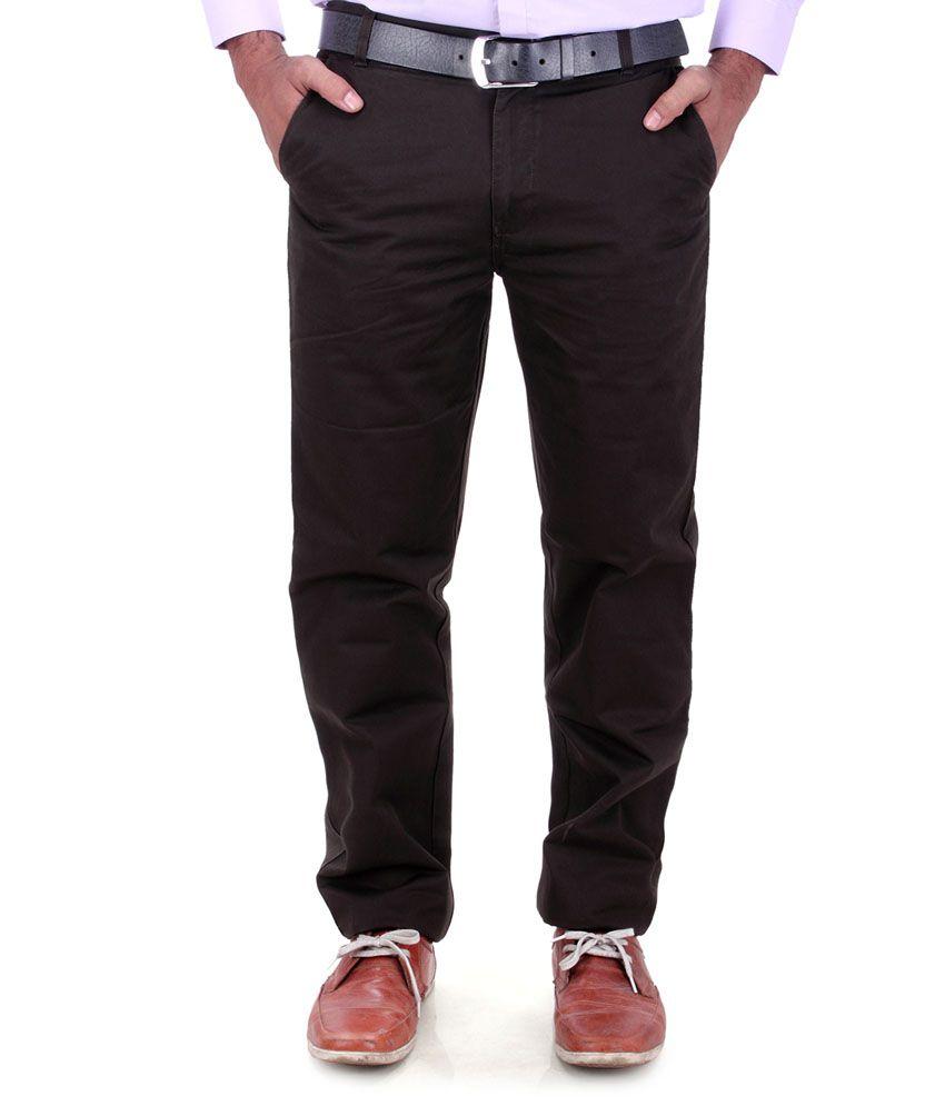 Dp's Cotton Regular Fit Dark Brown Men's Trouser
