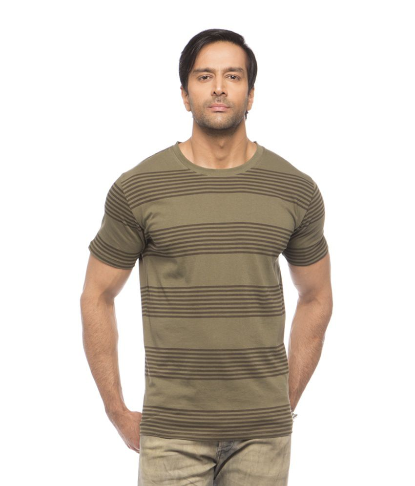 Printed striped round neck tee Green