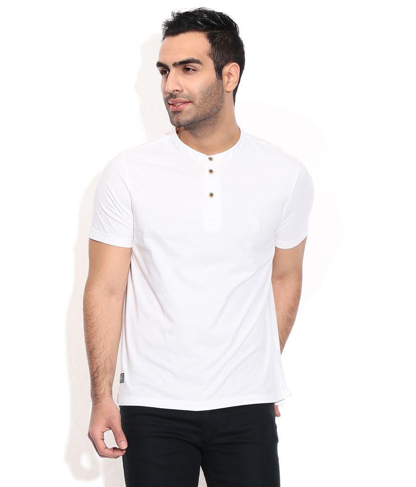 Indian Terrain White Cotton Round T-Shirt
