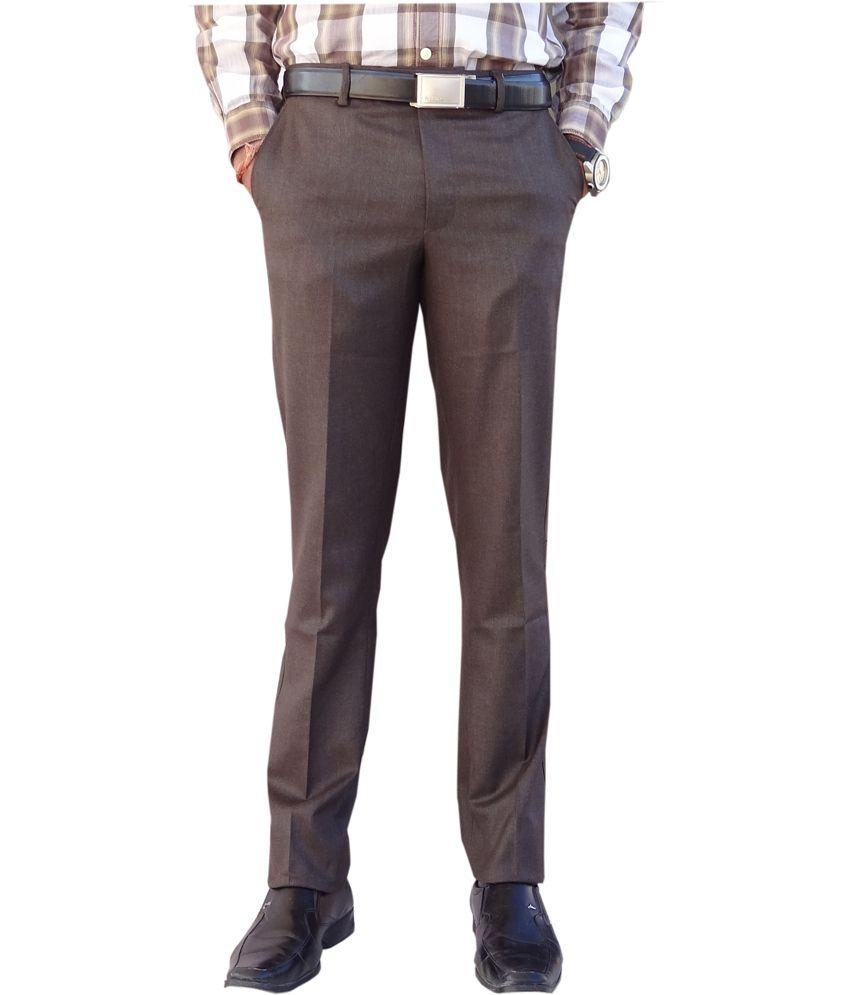 AD & AV Brown Poly Viscose Flat Regular Fit Semi Formal Trouser