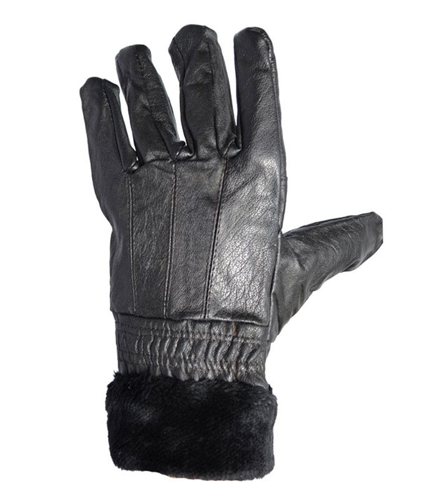 Buy leather hand gloves online india - Wcl Ladies 100 Sheep Napa Leather Hand Gloves With Fur Black
