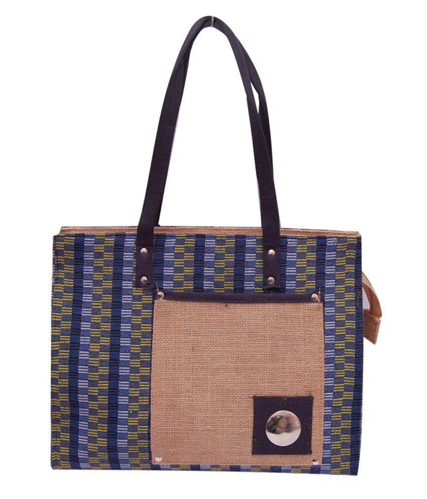 Womaniya Blue Jute Shoulder Bag