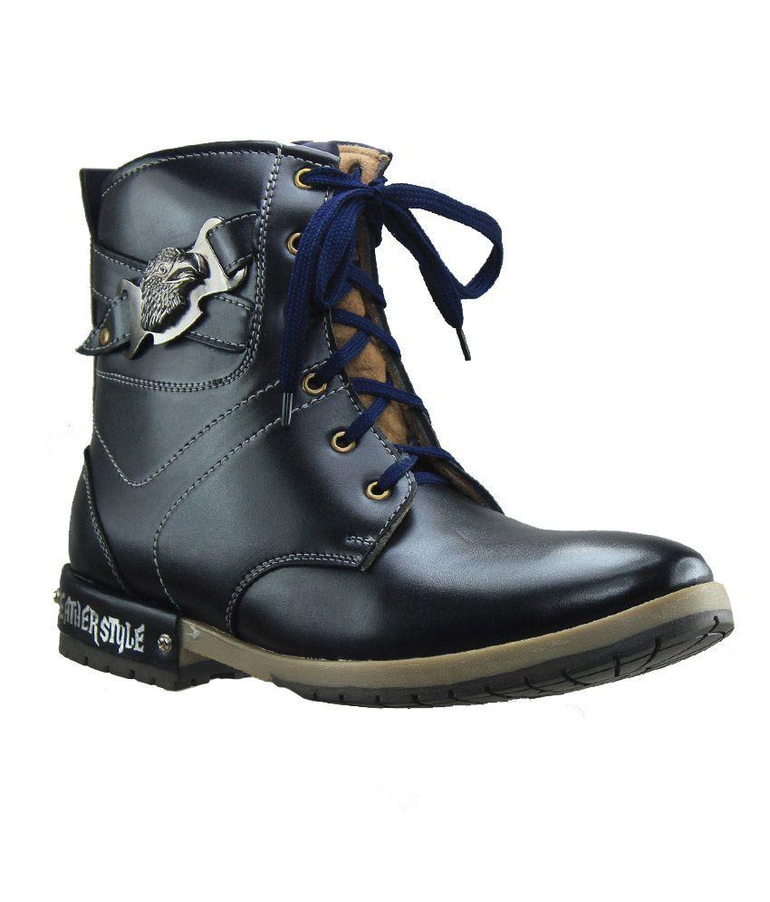 Dziner Blue Lace Closure Party Wear Boots