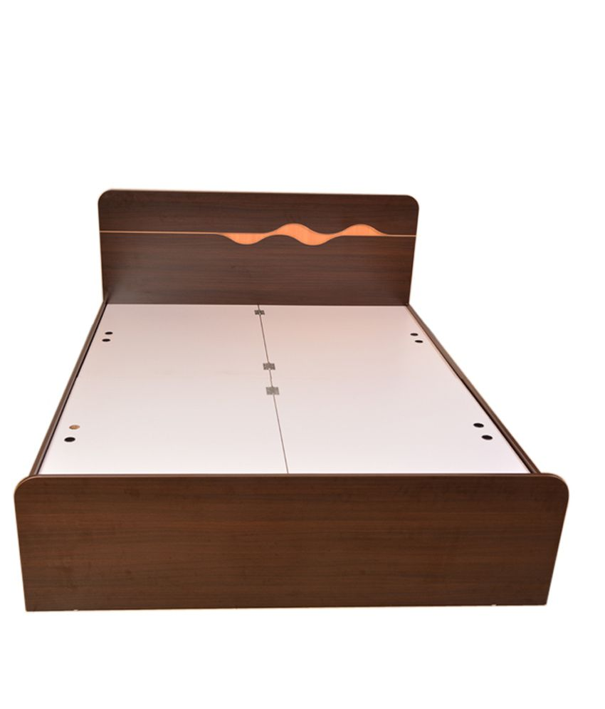 Haryana Furniture Brown Glossy Melamine Finish Double Bed - Buy