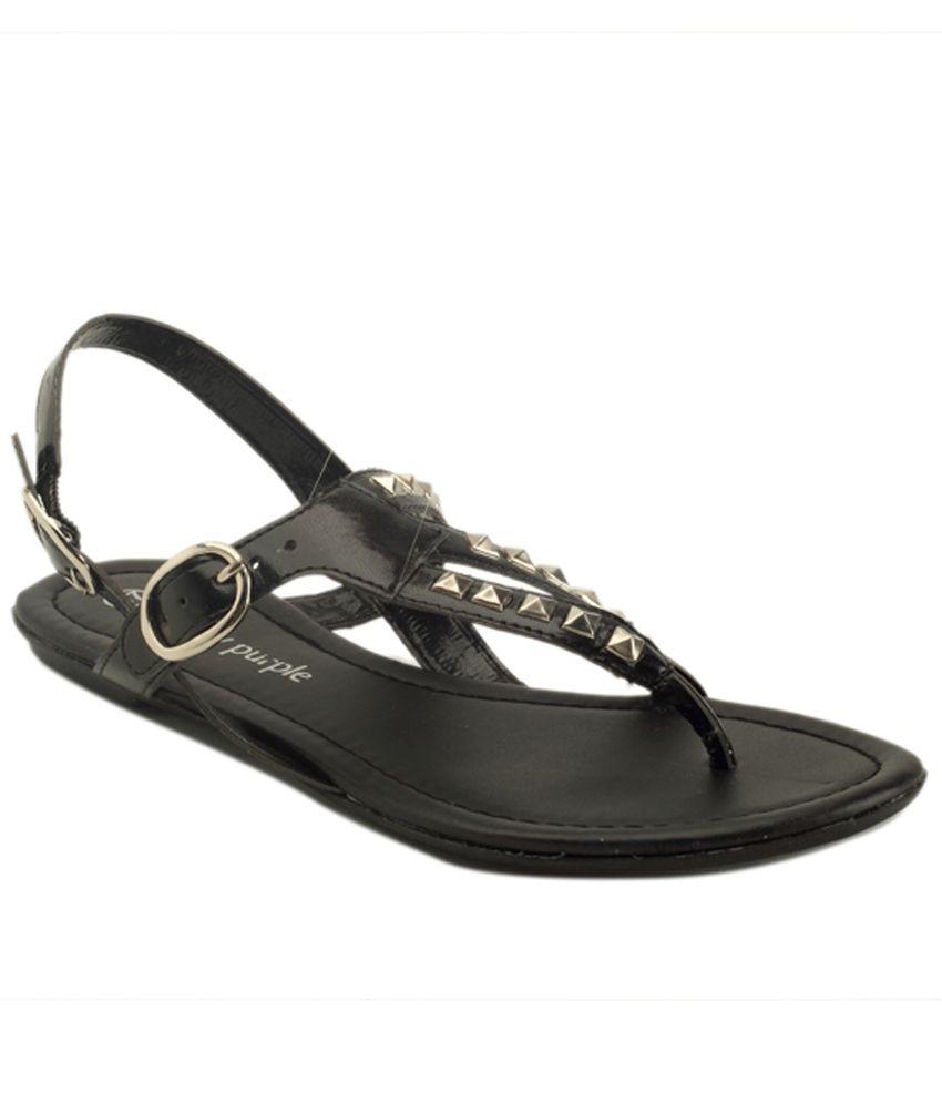 Berry Purple Black Sandal With Stud Detaiing