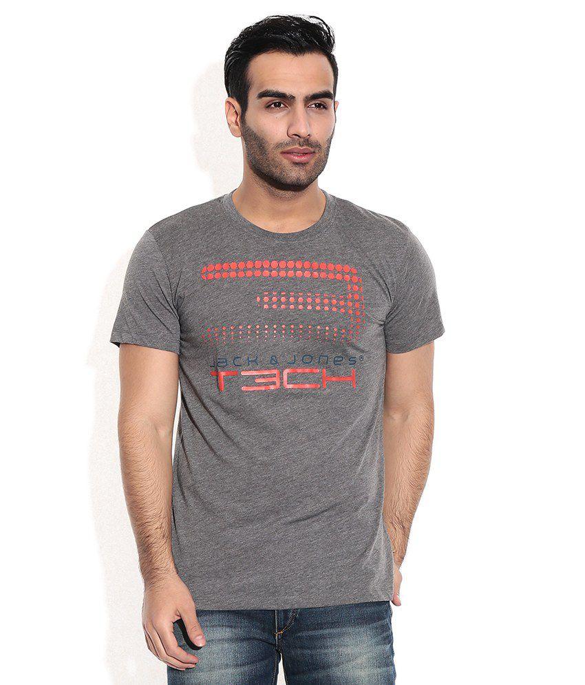 Jack & Jones Gray Cotton Blend T-Shirt