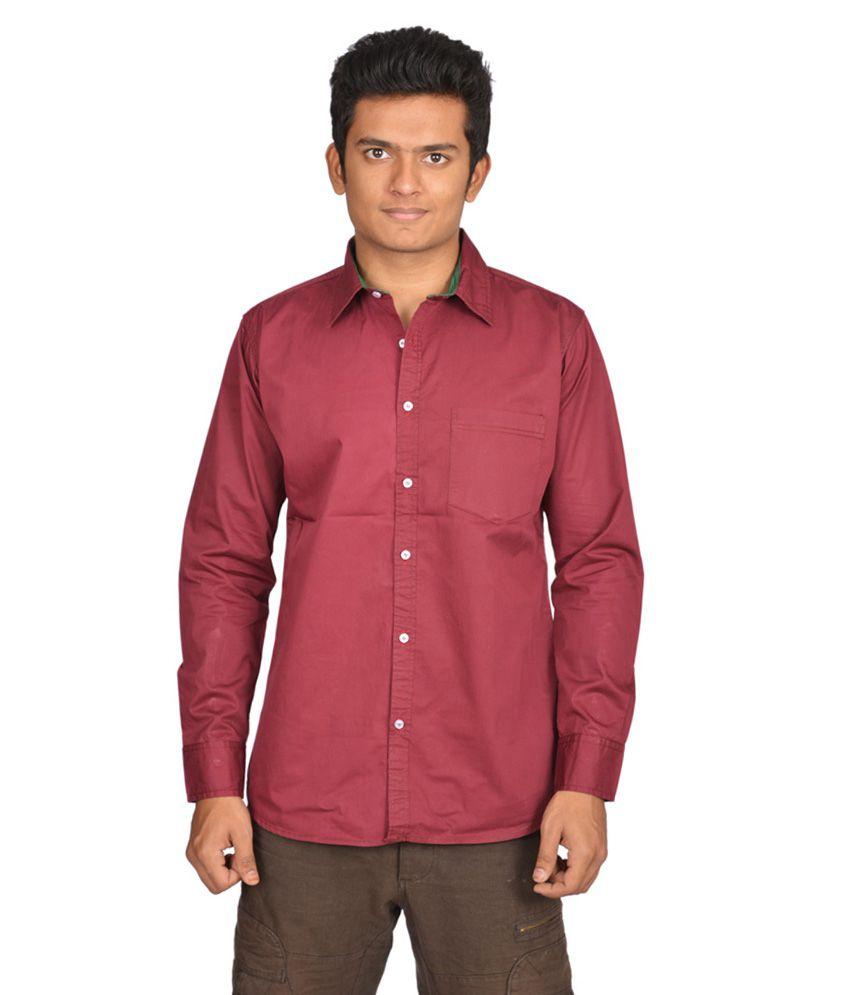 Killed Maroon Plain Cotton Full Sleeve Shirt For Men