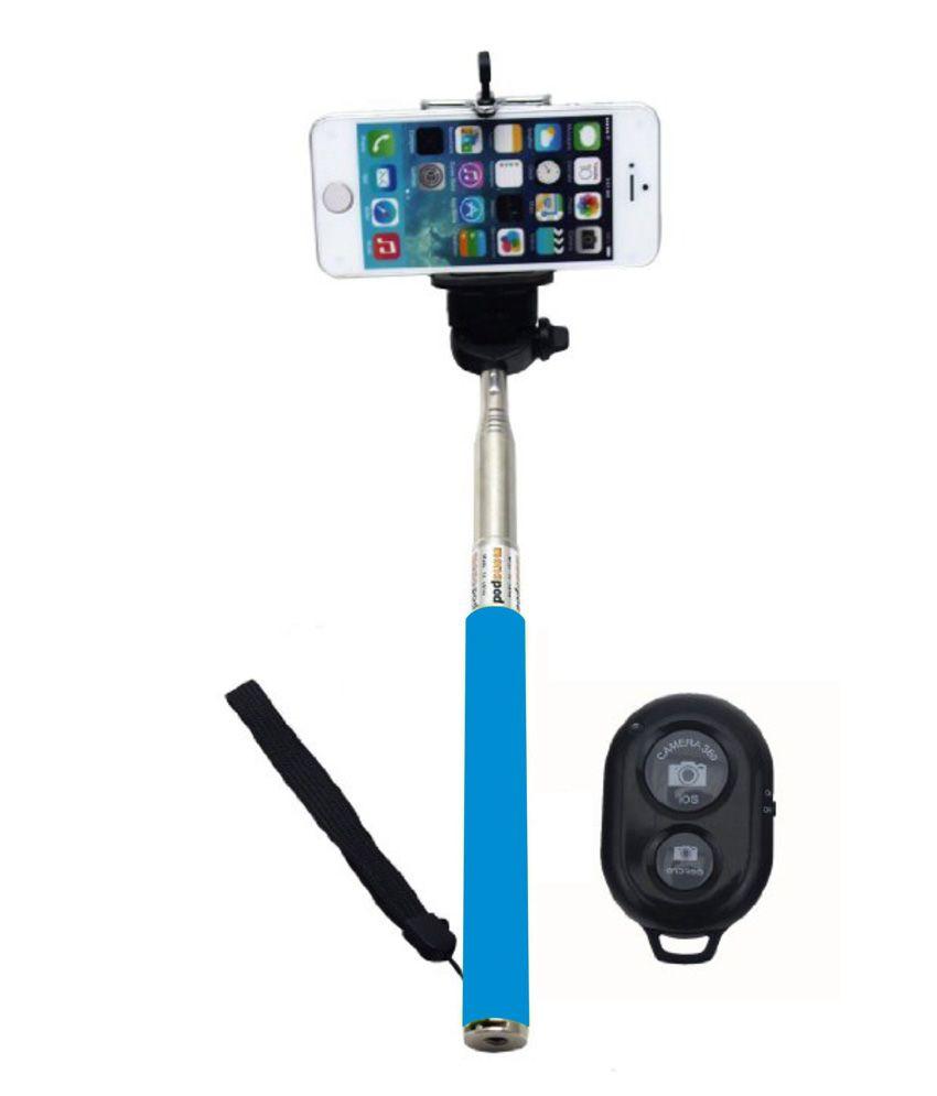 mirox blue selfie stick with bluetooth remote monopod selfie sticks accessories online at. Black Bedroom Furniture Sets. Home Design Ideas
