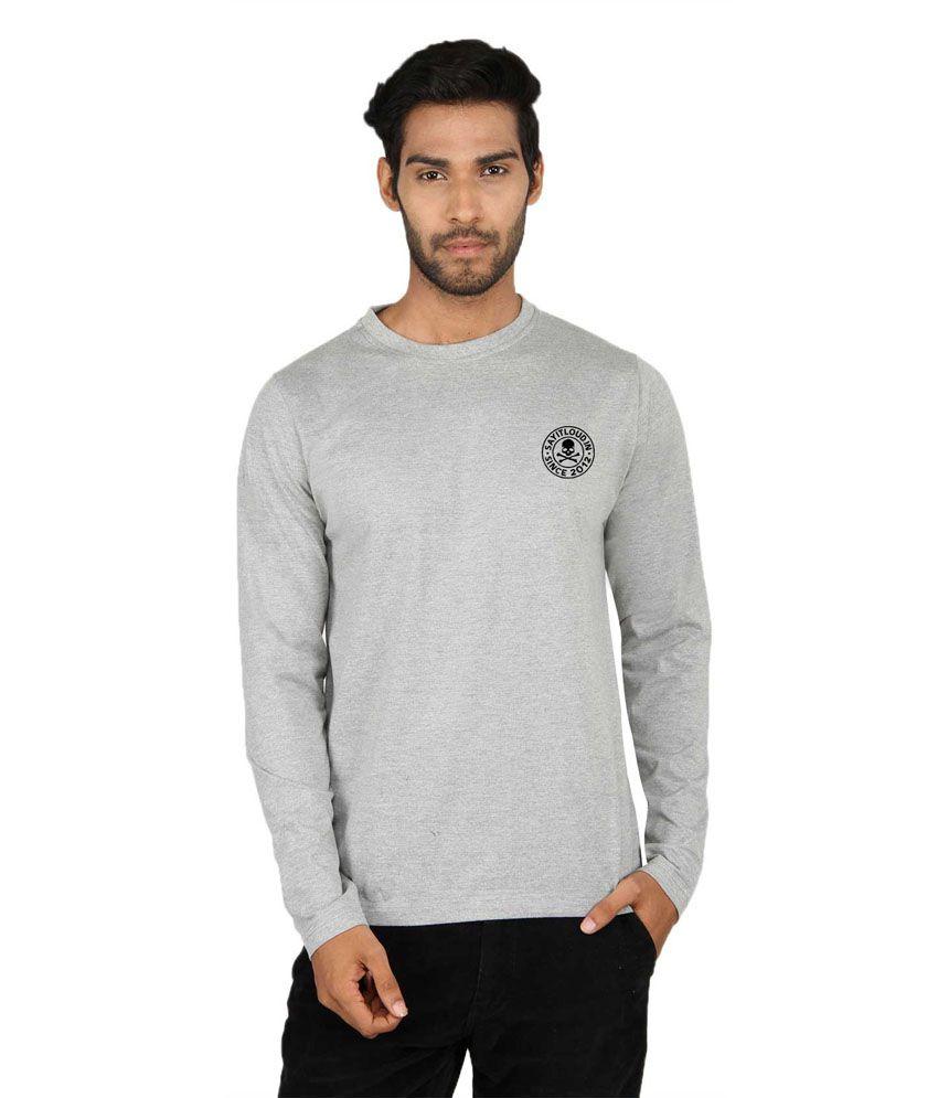 Sayitloud Sil Gray Cotton Printed T-shirt