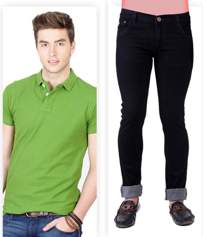 Haltung  Black Jeans & Green Polo T Shirt Combo