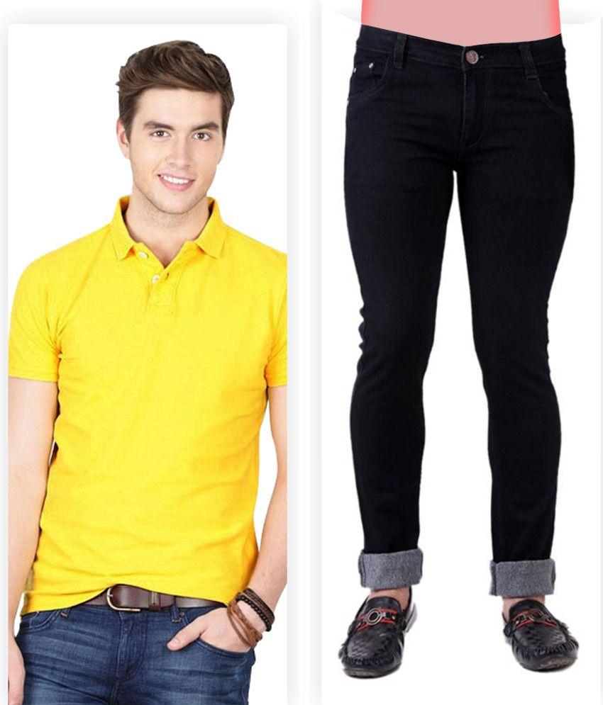 Haltung  Black Jeans & Yellow Polo T Shirt Combo