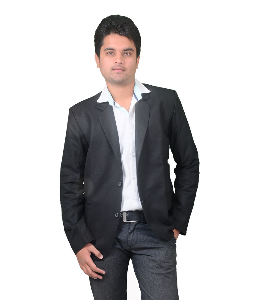 Intrend Black Poly Blend Formal Blazer For Men