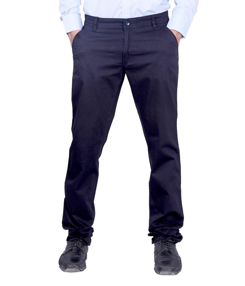 Kivon Men Navy Slim Fit Chino Trousers