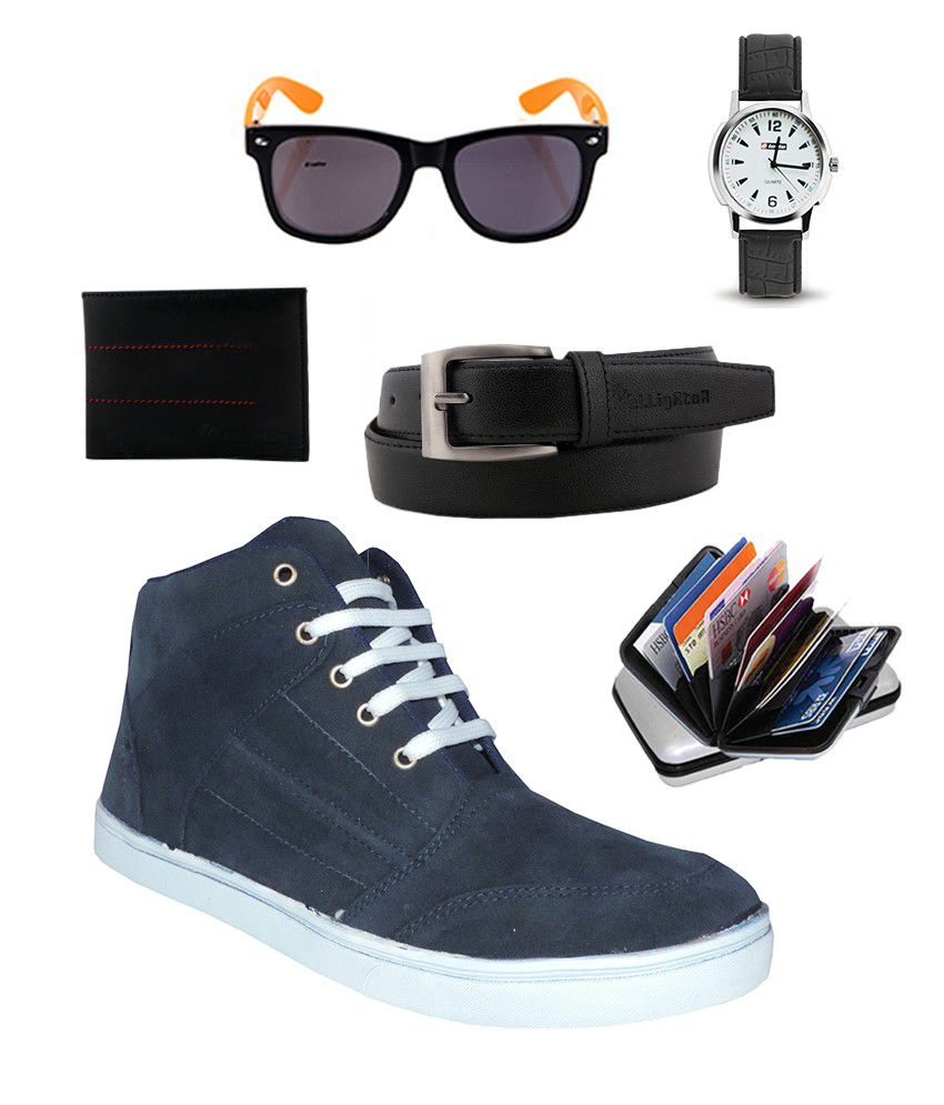 Elligator Navy Blue Sports Shoes With Lotto Wayfarer, Lotto Watch, Elligator Card Holder, Belt, & Wallet