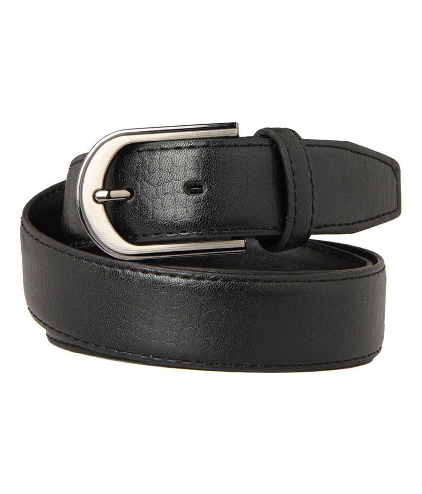 Guava Black Leather Single Casual Belt
