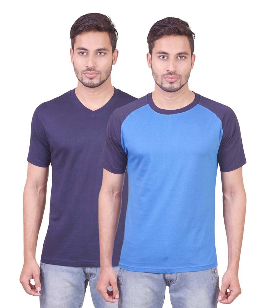 Indiemonk V Neck And Raglan T Shirts - Pack Of 2