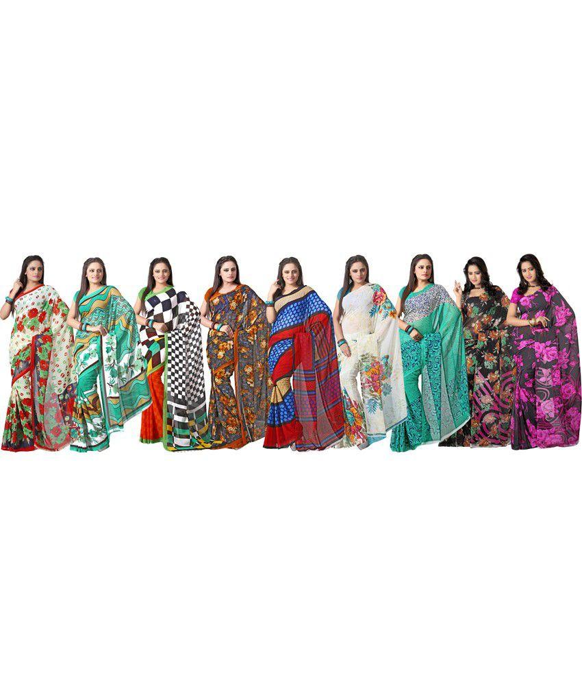 Silkbazar Multicolor Faux Of Pack Of 9 Saree