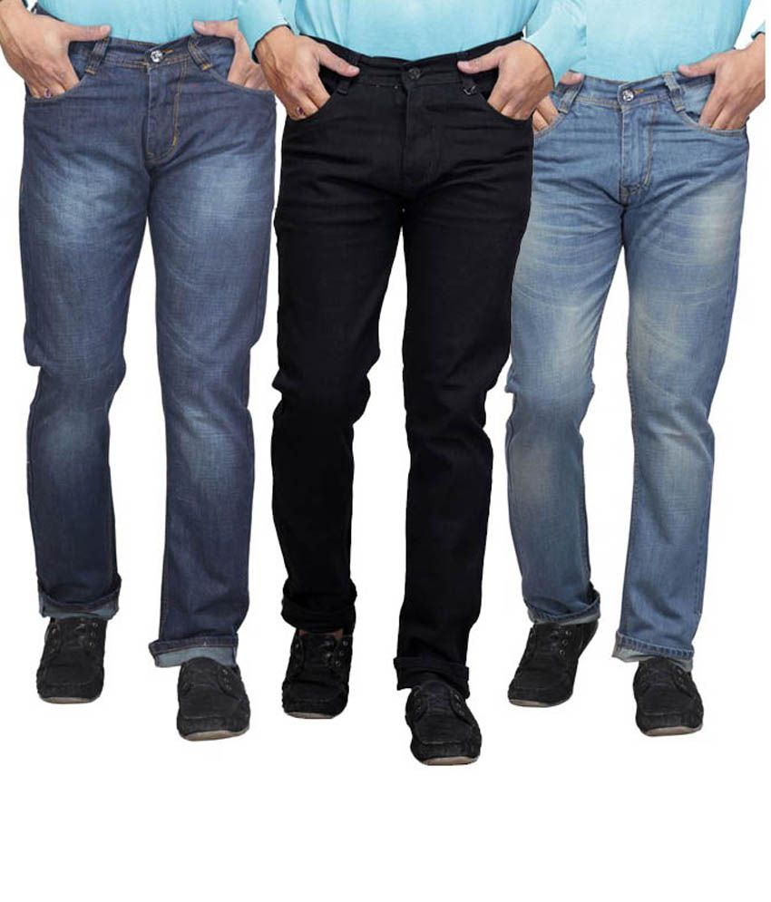 X-cross Blue Pack Of 3 Faded Jeans