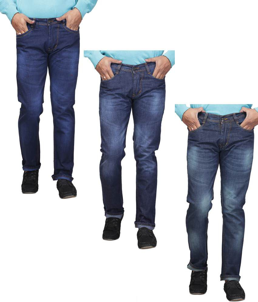X-cross Pack Of 3 Blue Streachable Jeans