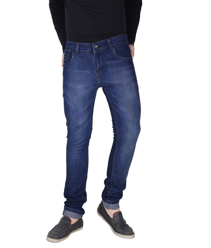 Crocks Club Blue Cotton Blend Slim Fit Faded Jeans For Men