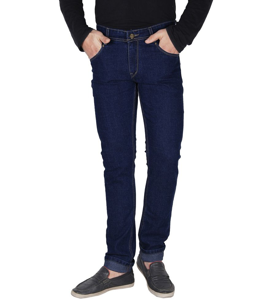 Crocks Club Blue Cotton Blend Slim Fit Basic Jeans For Men