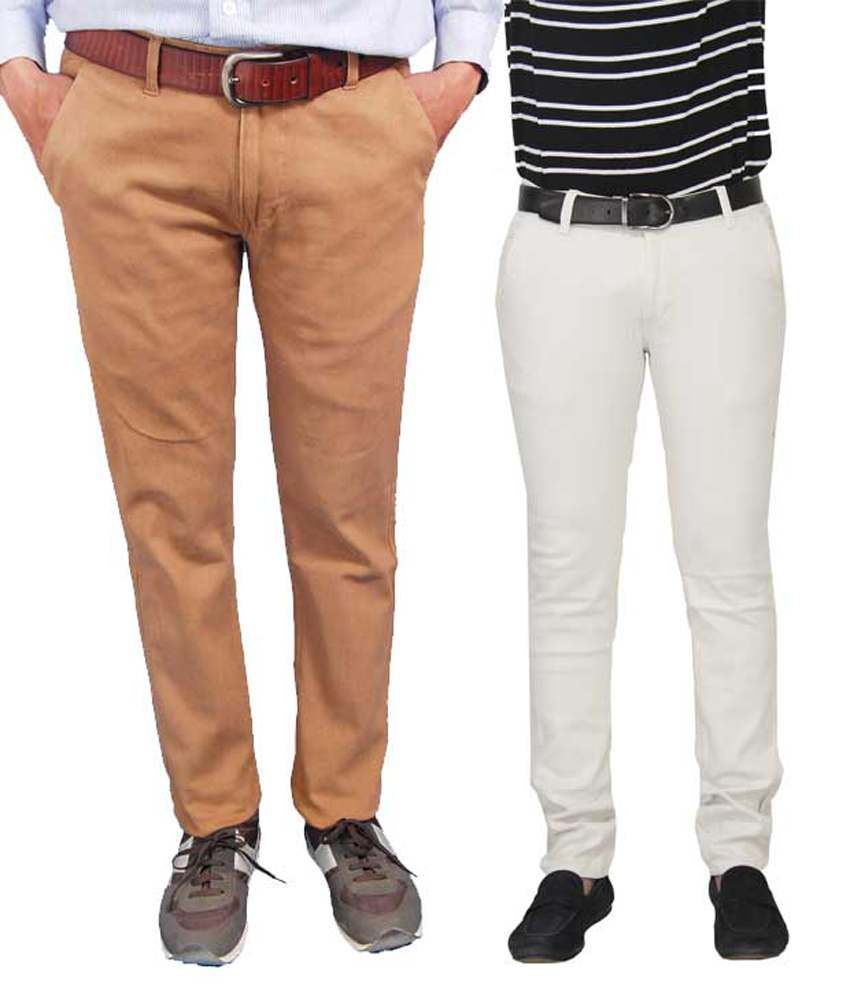 Fashion N Style Beige & White Cotton Lycra Slim Fit Trouser For Men - Set Of 2