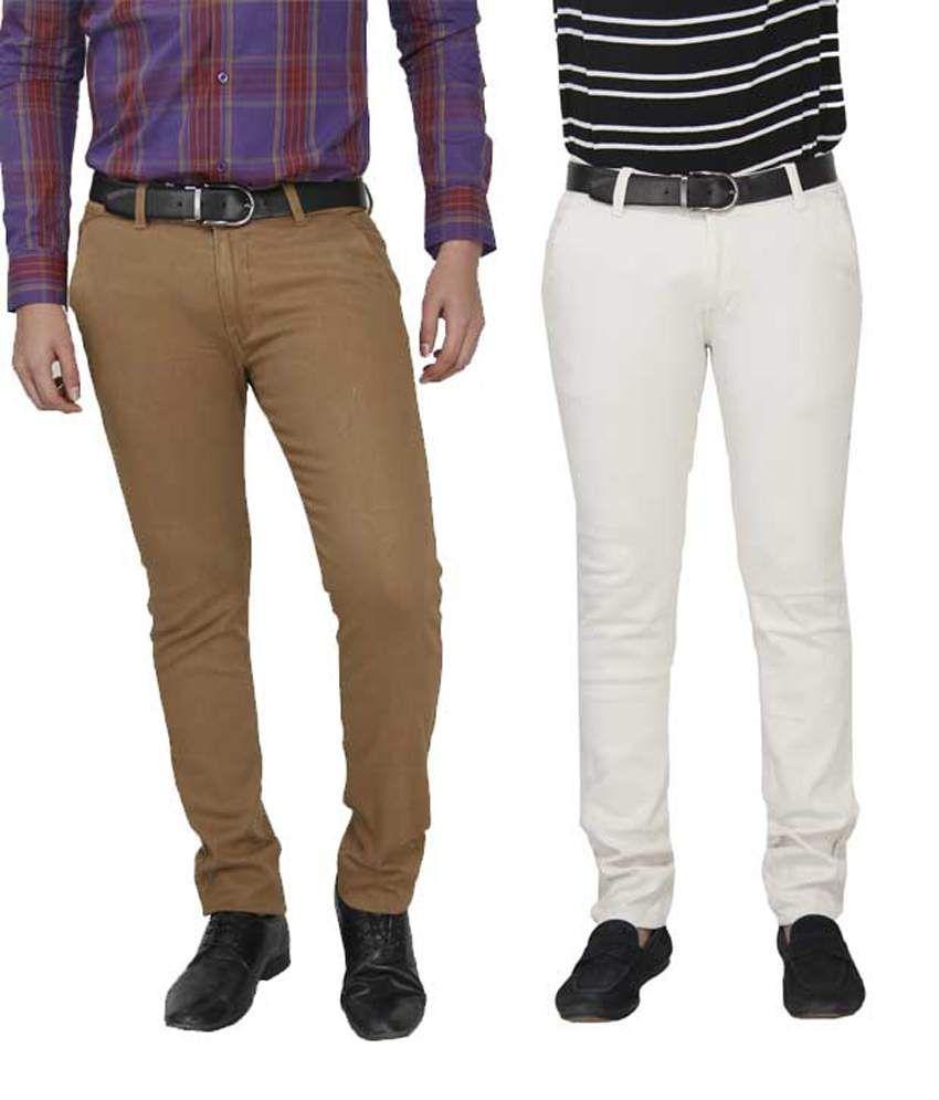 Fashion N Style Khaki & White Cotton Lycra Slim Fit Trouser For Men - Set Of 2