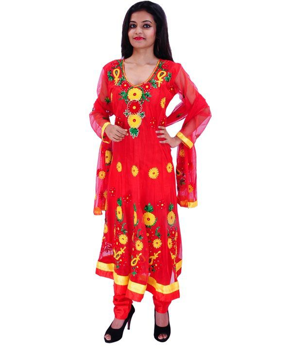 Krazzy Collection Red Embroidered Net Anarkali Stitched Salwar Suit