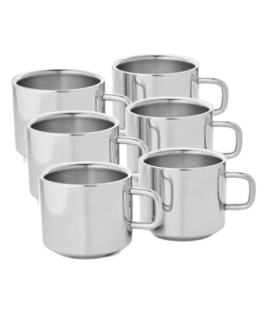 Shreepal Stainless Steel Double Wall Tea And Coffee Mug Set Of 6