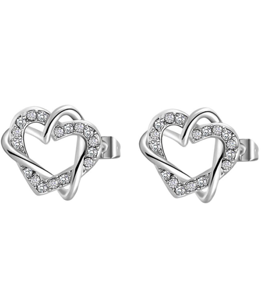 Ornativa Hearts Designer White Elegant Love Stud