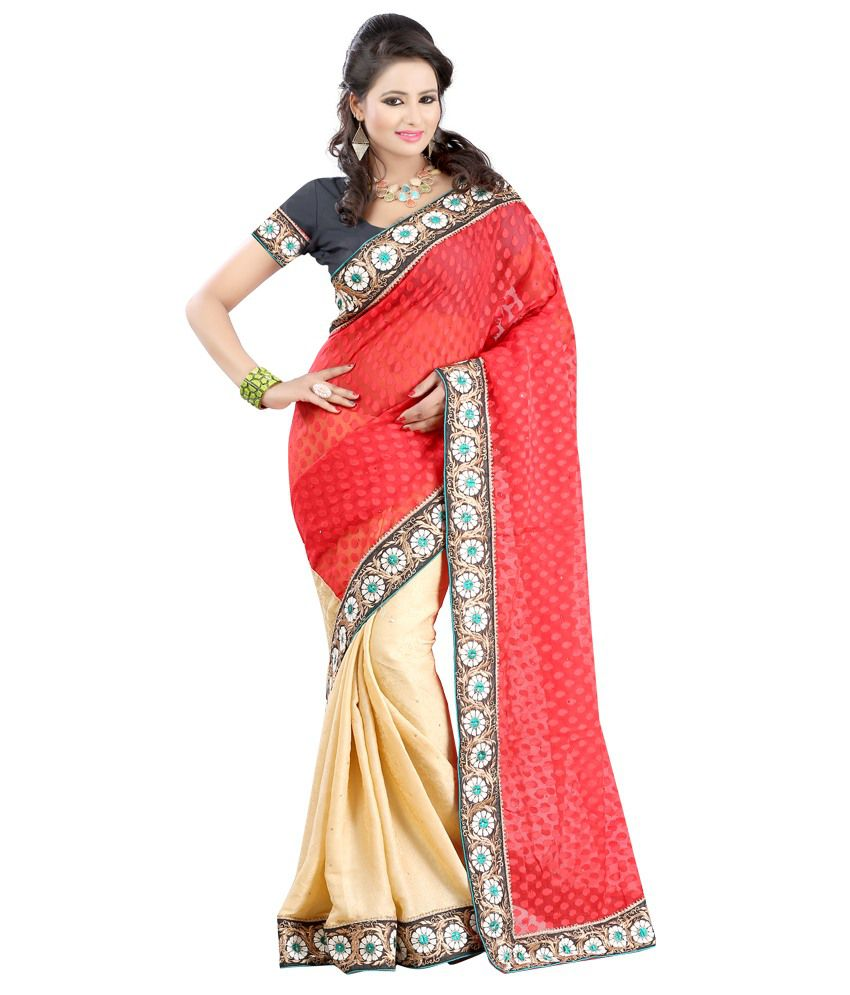 Fashiondeal Red Chiffon Saree