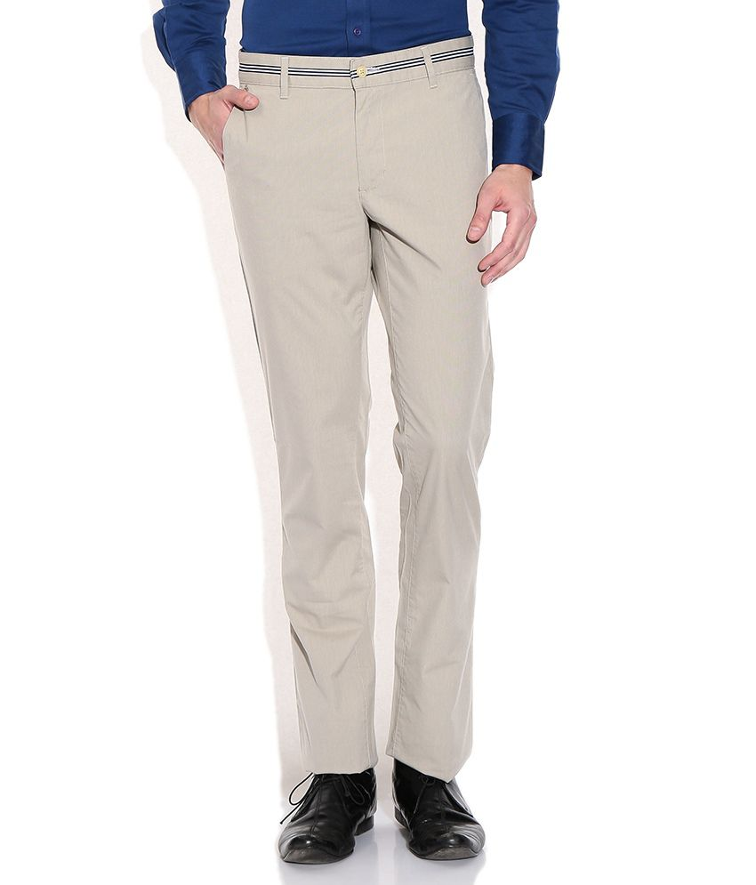 Raymond Beige Regular Fit Casual Trousers