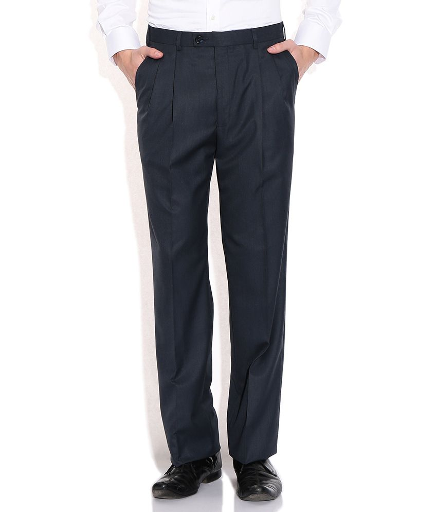 Raymond Blue Comfort Fit Formal Trousers